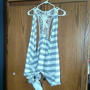 Bongo sleeveless striped and lacey vest